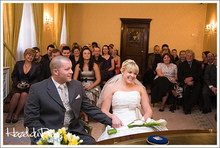 Bride and Groom in Brydon Room, Chelsea Old Town Hall, Chelsea and Kensington Register Office