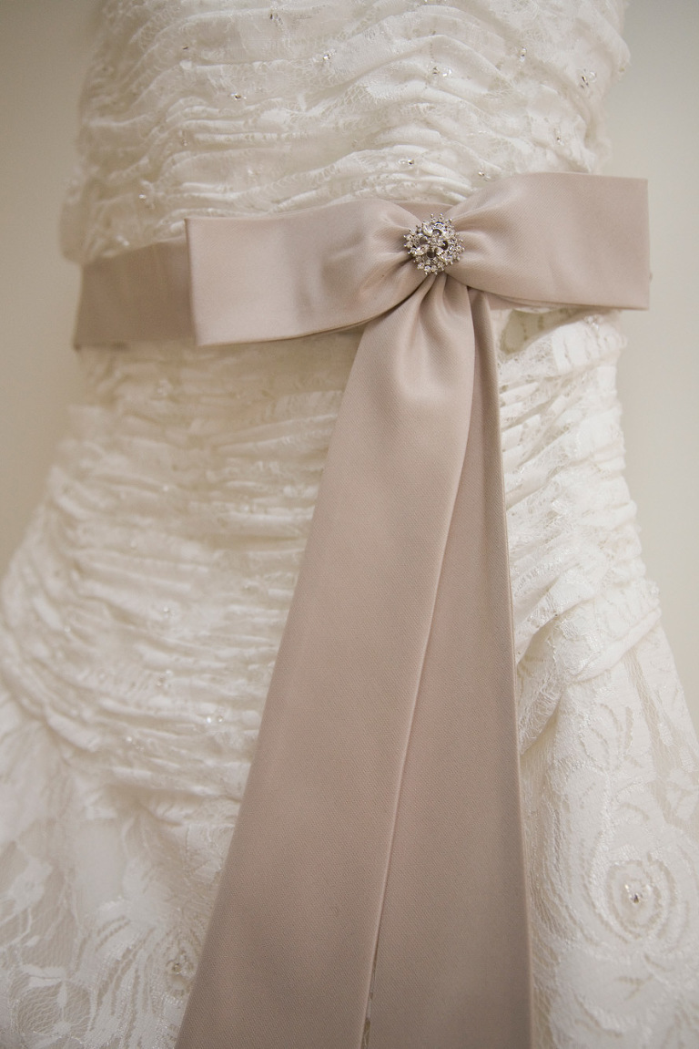 gorgeous lace wedding dress with satin bow