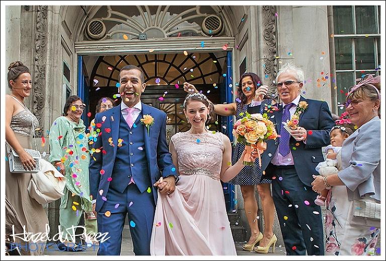 confetti outside Kensington and Chelsea Register Office